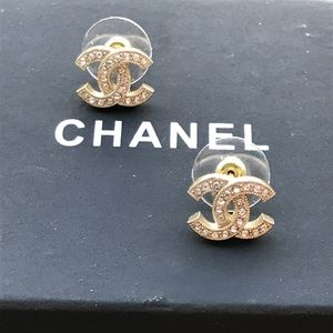 Authentic Chanel Gold Stud Earrings